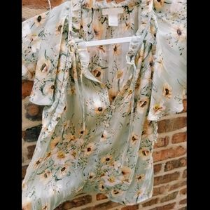 Light Green Silky See-through Floral Blouse